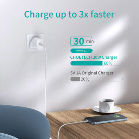 Choetech Power Delivery 20W USB-C Wall Charger - UK Plug - White