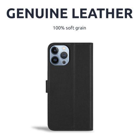 Olixar Genuine Leather iPhone 13 Pro Wallet Case - Black