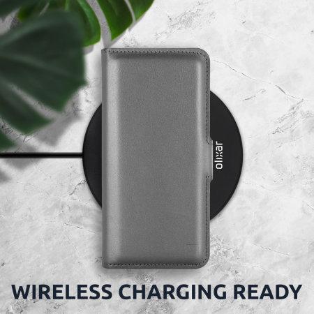Olixar Genuine Leather iPhone 13 Pro Max Wallet Case - Grey