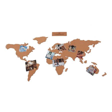 Luckies Self Adhesive Corkboard World Map W/ Pins & Corks - Brown