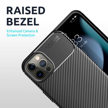 Olixar Carbon Fibre iPhone 13 Pro Max Tough Case - Graphite