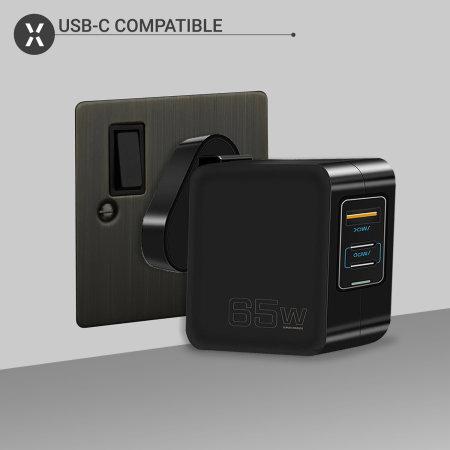Olixar USB-A & 2 USB-C Ports PD 65W MacBook Wall Charger- Black