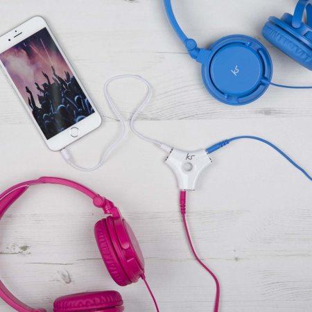 Kitsound KS 5 Multi-Way 3.5mm Audio Jack Headphone Splitter - White