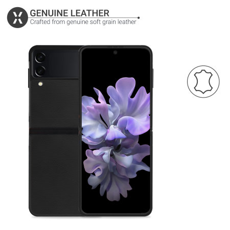 Olixar Genuine Leather Samsung Galaxy Z Flip 3 Case - Black