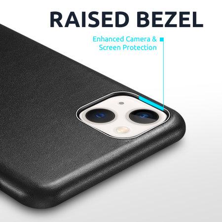 Olixar Genuine Leather iPhone 13 Slim Case - Black