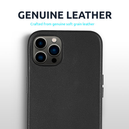 Olixar Genuine Leather iPhone 13 Pro Slim Case - Black
