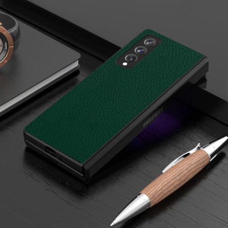Olixar Genuine Leather Samsung Galaxy Z Fold 3 Case - Forest Green