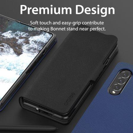 Araree Bonnet Samsung Galaxy Z Fold 3 Wallet Stand Case - Ash Blue