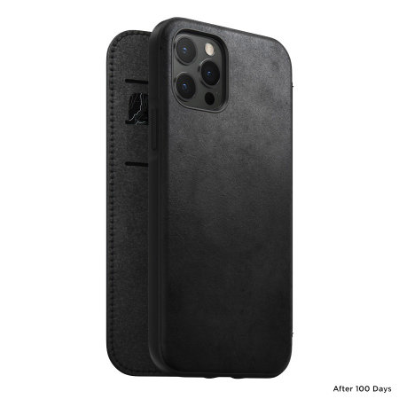 Nomad iPhone 13 Pro Max Horween Leather Modern Folio Case - Black