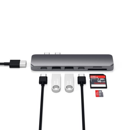 Satechi 6 Port Type-C Pro MacBook Hub Adapter With SD Card- Space Grey
