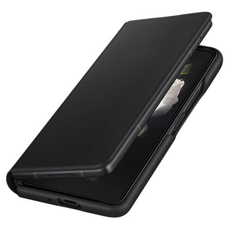 Official Samsung Galaxy Z Fold 3 Leather Flip Cover Case - Black