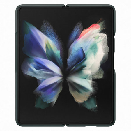 Official Samsung Galaxy Z Fold 3 Leather Flip Cover Case - Green