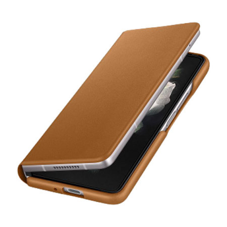 Official Samsung Galaxy Z Fold 3 Leather Flip Cover Case - Camel