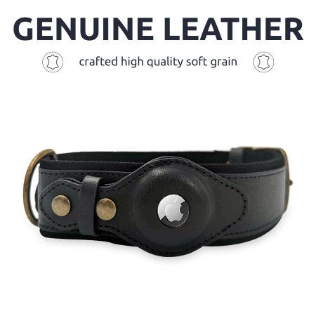 Olixar Apple AirTags Genuine Leather Medium Dog Collar - Black