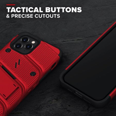 Zizo Bolt iPhone 13 Pro Max Protective Case & Screen Protector - Red