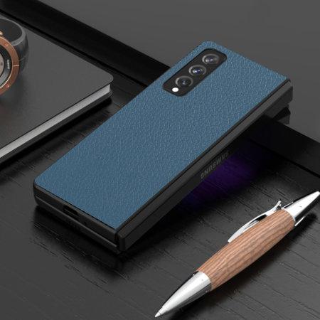 Olixar Genuine Leather Samsung Galaxy Z Fold 3 Case - Blue