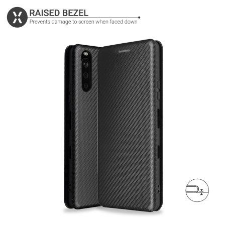Olixar Carbon Fibre Sony Xperia 1 III Wallet Stand Case - Black