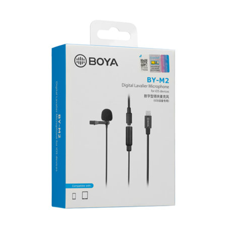 Boya HD Audio Clip-On Microphone For iOS Devices - Black