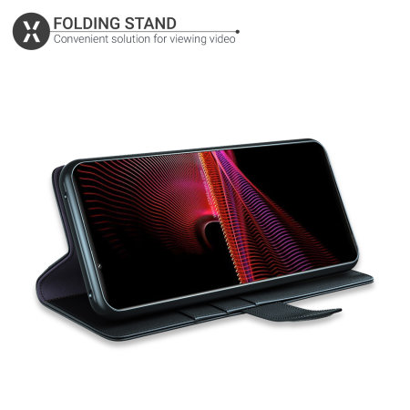 Olixar Genuine Leather Sony Xperia 1 III Wallet Stand Case - Black