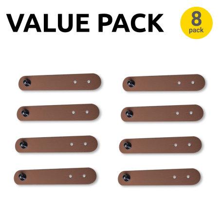 Olixar Adhesive Snap Cable Organisers - 8 Pack - Brown