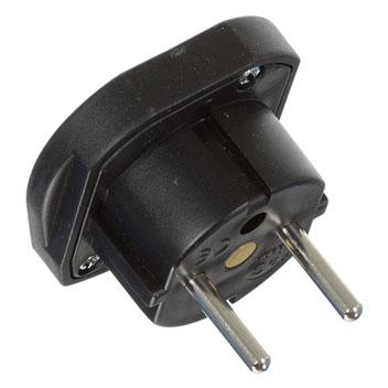 Portable UK to Euro Mains Adapter Travel Plug - Black