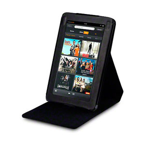 Adarga Folio Vertical Flip Kindle Fire Stand Case - Black