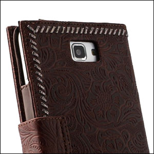 Zenus Galaxy Note Prestige Italian Carved Diary - Black Chocolate