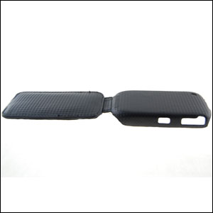 Slimline Carbon Fibre Flip Case for BlackBerry Curve 8520 - Black