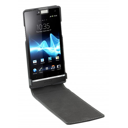 Sony Xperia Leather Style Flip Case - Black