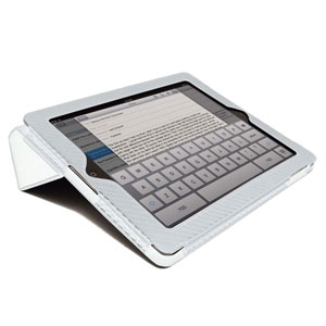 Carbon Fibre Style iPad 3 / iPad 2 Case - White