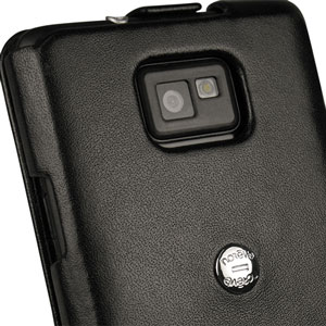Housse en cuir Samsung Galaxy S2 Norêve Tradition A - Blanche - caméra
