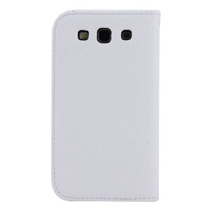 Leather Style Wallet Case for Samsung Galaxy S3 - White
