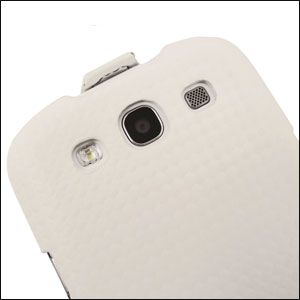 Slimline Carbon Fibre Style Flip Case Samsung Galaxy S3 - White