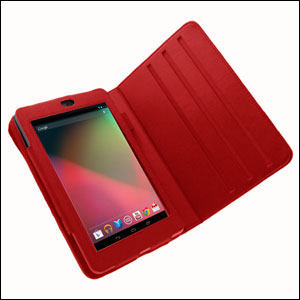 Leather Style Rotating Case for Google Nexus 7 - Red