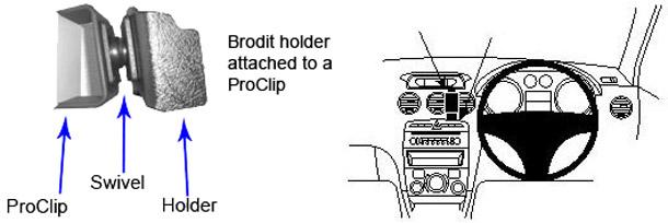 Brodit-Support proClip 653750 2009 citro/ën c2//c3 pluriel mod/èles 2006