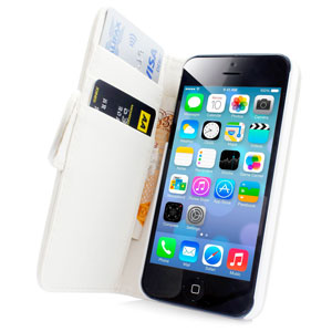 Adarga Leather Style Wallet Case for iPhone 5S / 5 - White