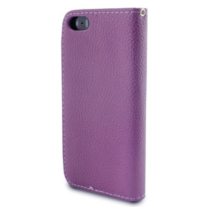 Leather Style Wallet Case for iPhone 5S / 5 - Purple