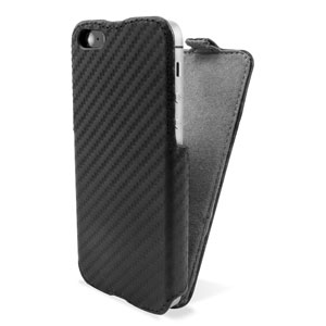 Slimline Leather Style iPhone 5 Flip Case - Black