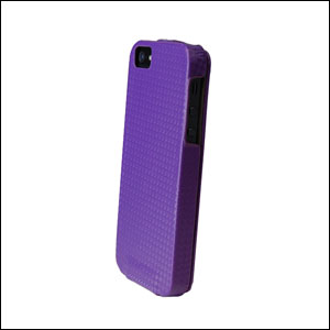 Slimline Leather Style iPhone 5 Flip Case - Purple