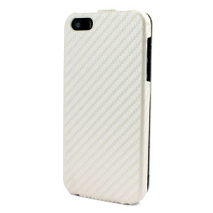 Slimline iPhone 5 Leather Style Flip Case - White