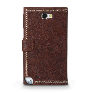Zenus Italian Carved Diary Case for Samsung Galaxy Note - Brown