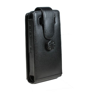 Capdase Flip Top Leather Case for Blackberry Pearl 3G - Black
