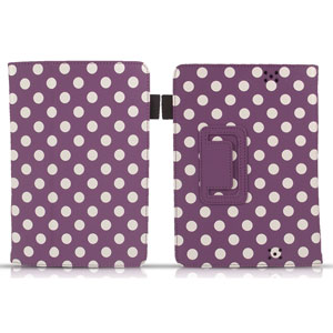Housse Kindle Fire HD SD Tabletwear Stand and Type – Violette Polka