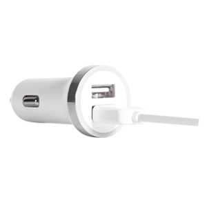 USB Mini Car Charger Adapter 2100 ma - White