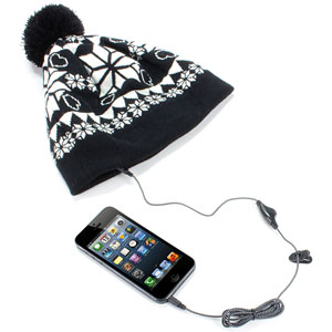Audio Beanie Snowflake Pattern With Bobble