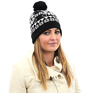 Kitsound Audio Beanie Snowflake Pattern With Bobble - Black