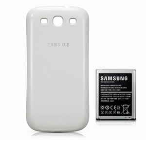 Genuine Samsung Extended Battery Kit for Galaxy S3 - 3000mAh - White