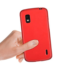 Dust Coating Silicone Case for Google Nexus 4 - Red