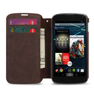 Zenus Masstige Color Edge Diary Case for Google Nexus 4 - Brown