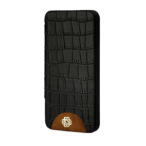 Mischa Barton Luxury Croc Finish Leather Case for iPhone 5 - Black